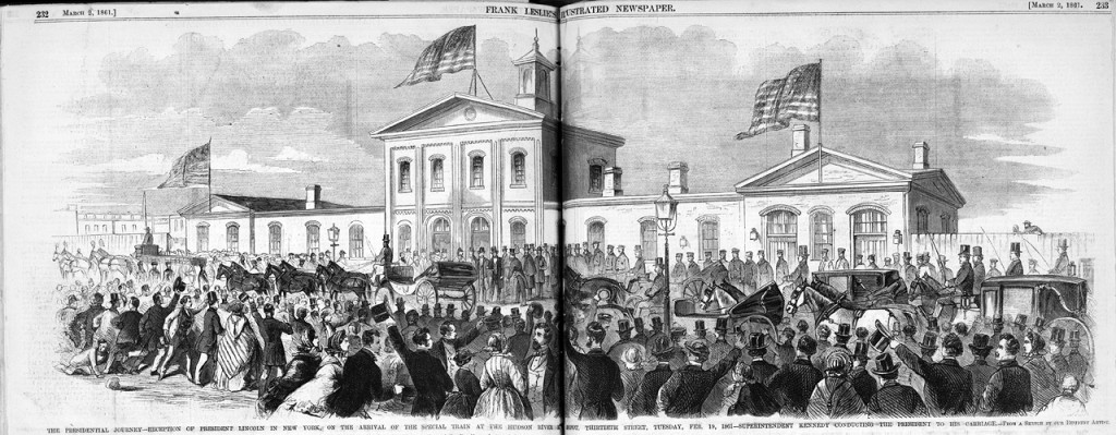 Abraham Lincoln's Special Inaugural Train at the Hudson River Railroad Depot, 1861. From Frank Leslie's Illustrated Newspaper, courtesy the Library of Congress